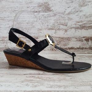 🔵Like New! Connie Black Croc Thong Style Sandal